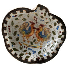 Italian Ceramic Rooster Dish with Sgraffito Glaze by Bitossi, 1960s