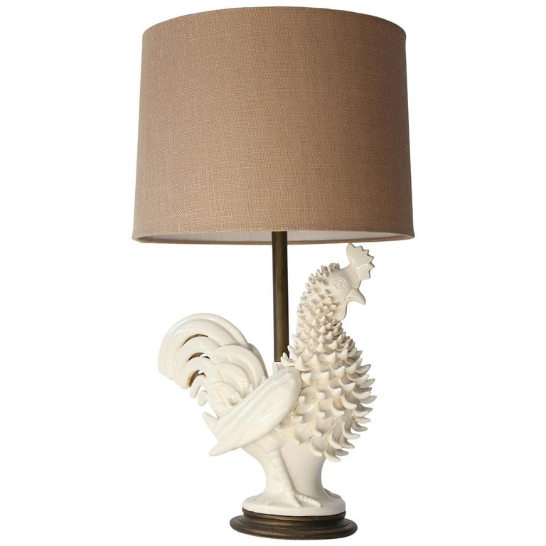 Italian ceramic rooster lamp, 1970s, offered by Skelton Culver