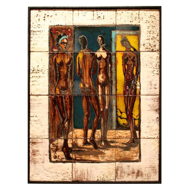 Italian Ceramic Tile Painting of Female Nudes in an Interior