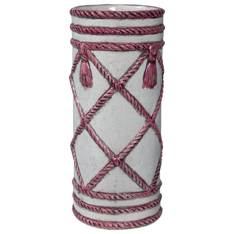 Italian Ceramic Umbrella Stand, Pink and White For Sale
