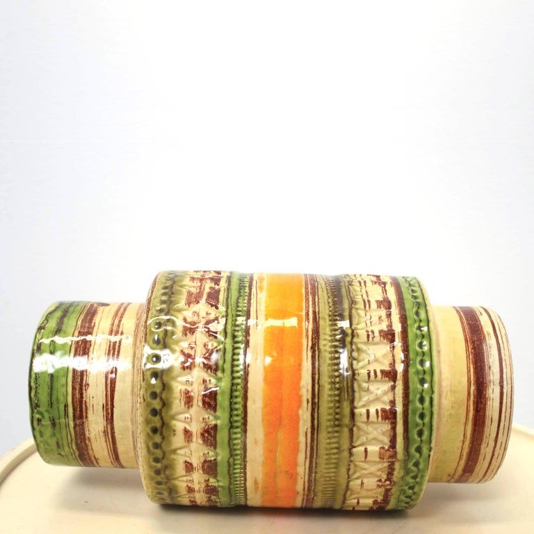 Mid-Century Modern Mid Century Italian Yellow Green Orange Ceramic Vase by Bitossi, 1950s For Sale