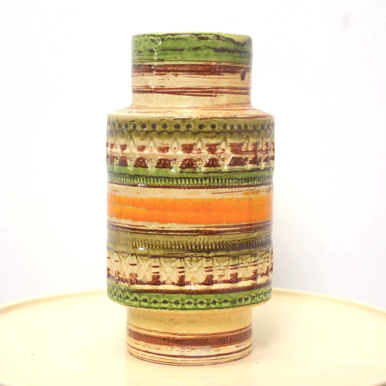 20th Century Mid Century Italian Yellow Green Orange Ceramic Vase by Bitossi, 1950s For Sale