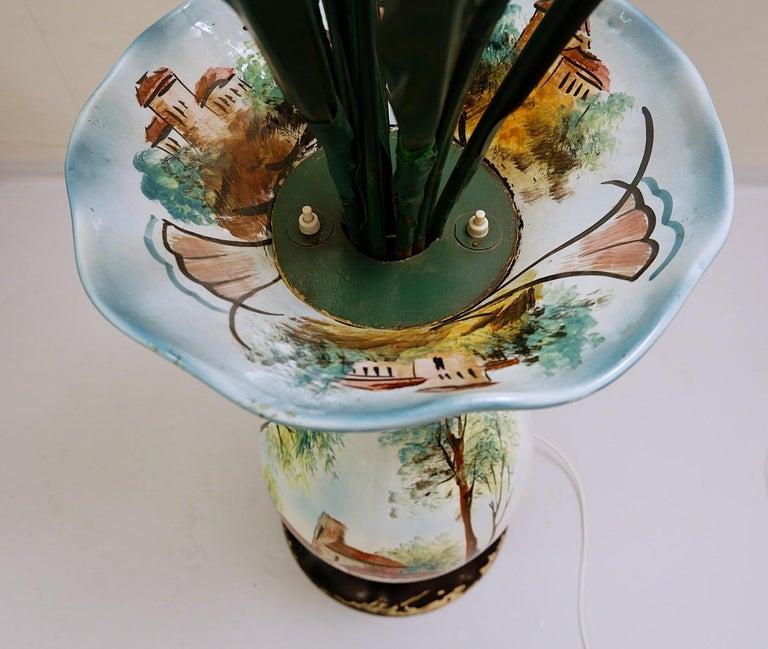 Italian Ceramic Vase Flowers Floor Lamp For Sale at 1stDibs