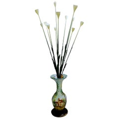 Italian Ceramic Vase Flowers Floor Lamp