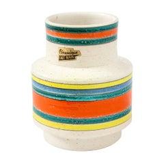 Italian Ceramic Vase, White, Green, Orange, Yellow, Blue, Stripes, Signed
