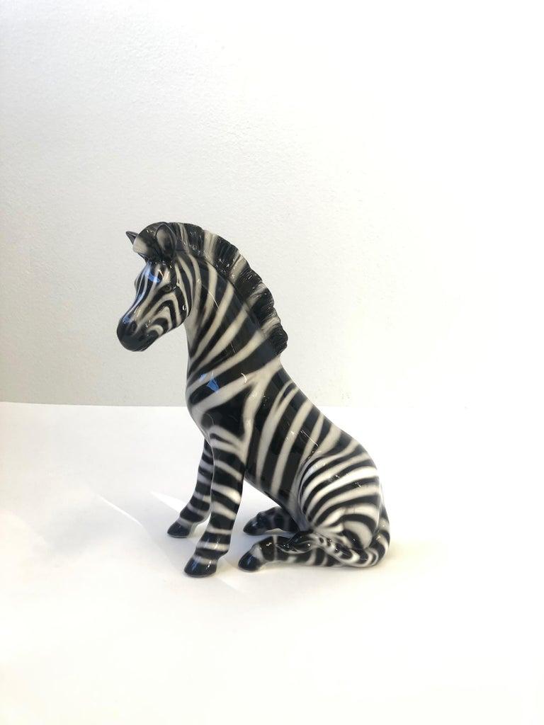 Modern Italian Ceramic Zebra Sculpture For Sale
