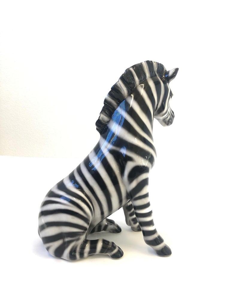 Italian Ceramic Zebra Sculpture In Excellent Condition For Sale In Palm Springs, CA