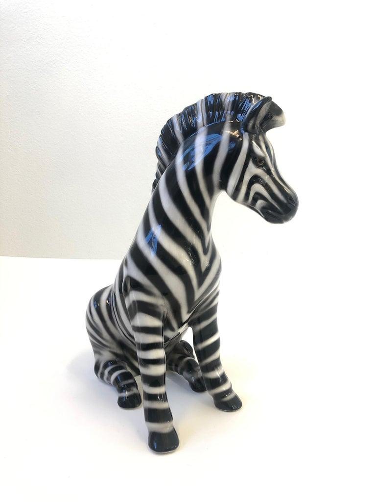 Late 20th Century Italian Ceramic Zebra Sculpture For Sale