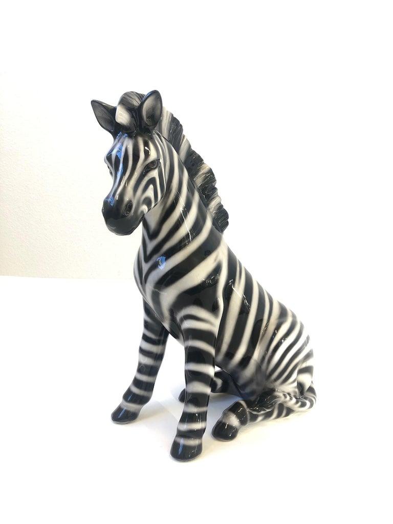 Italian Ceramic Zebra Sculpture For Sale 1