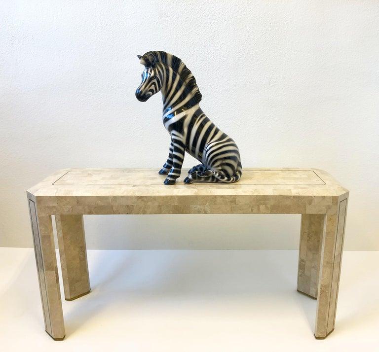 Italian Ceramic Zebra Sculpture For Sale 2