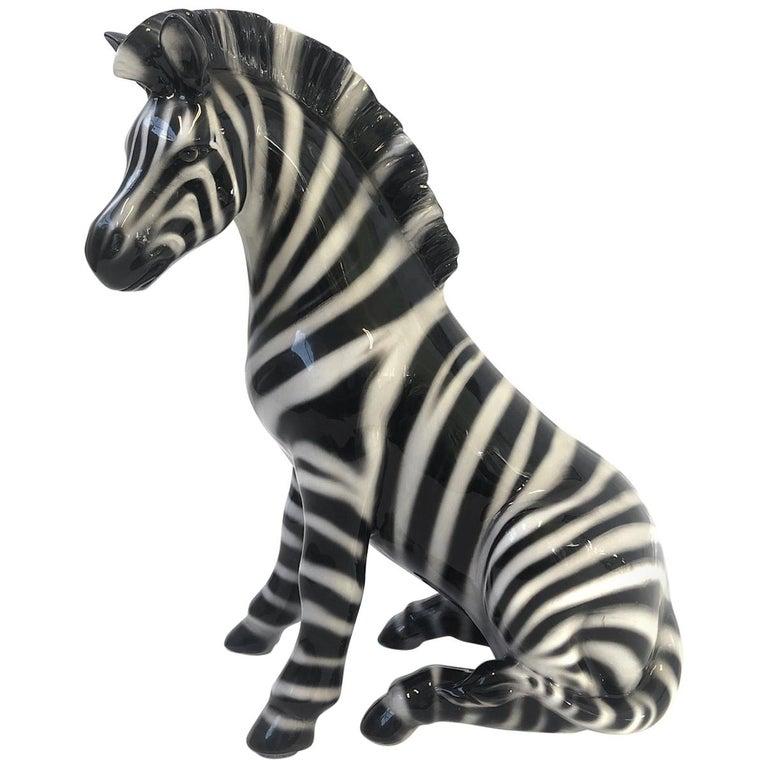 Italian Ceramic Zebra Sculpture For Sale