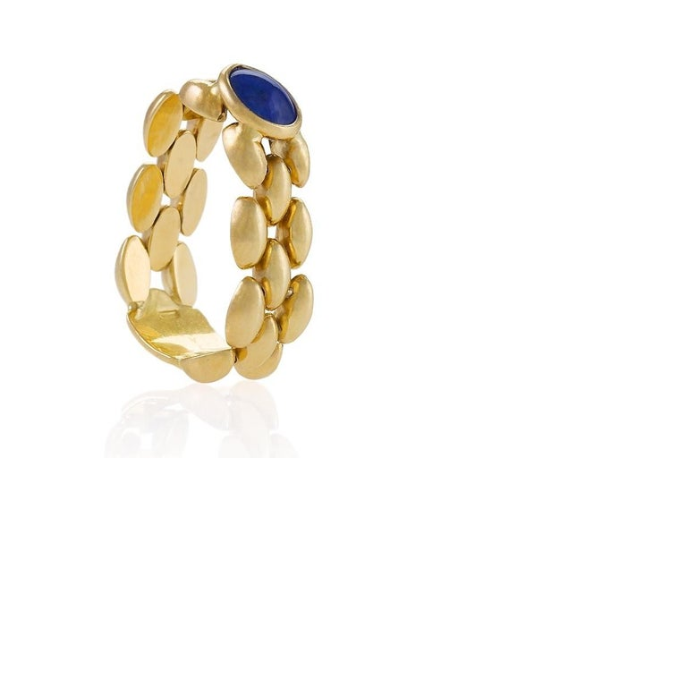 Italian Chainlink Sapphire Ring In Excellent Condition For Sale In New York, NY