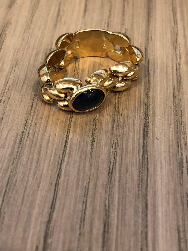 Women's Italian Chainlink Sapphire Ring For Sale