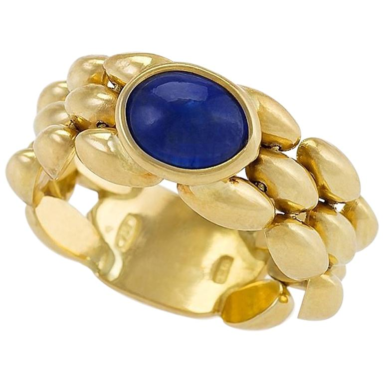 Italian Chainlink Sapphire Ring For Sale