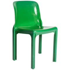 Italian Chair by Vico Magistretti for Artemide, Green Selene Chair, Italy, 1960s