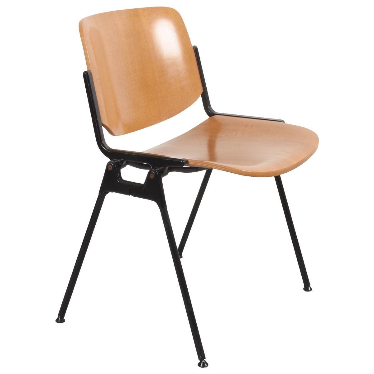 Italian Chair DSC 106 Giancarlo Piretti for Castelli Wood Aluminum, Italy, 1960s