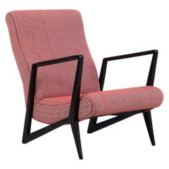 Italian Chair with Geometric Dark Wood Frame and Vintage Cover, 1960s