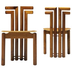 Italian Chairs in Walnut with Cognac Leather