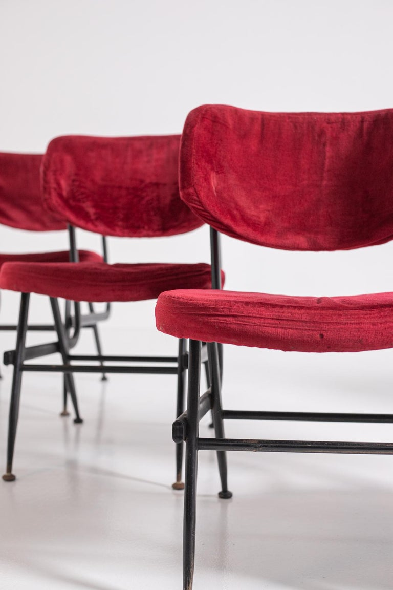 Italian Chairs Set of Six in Red Velvet and Iron, 1950s For Sale 3
