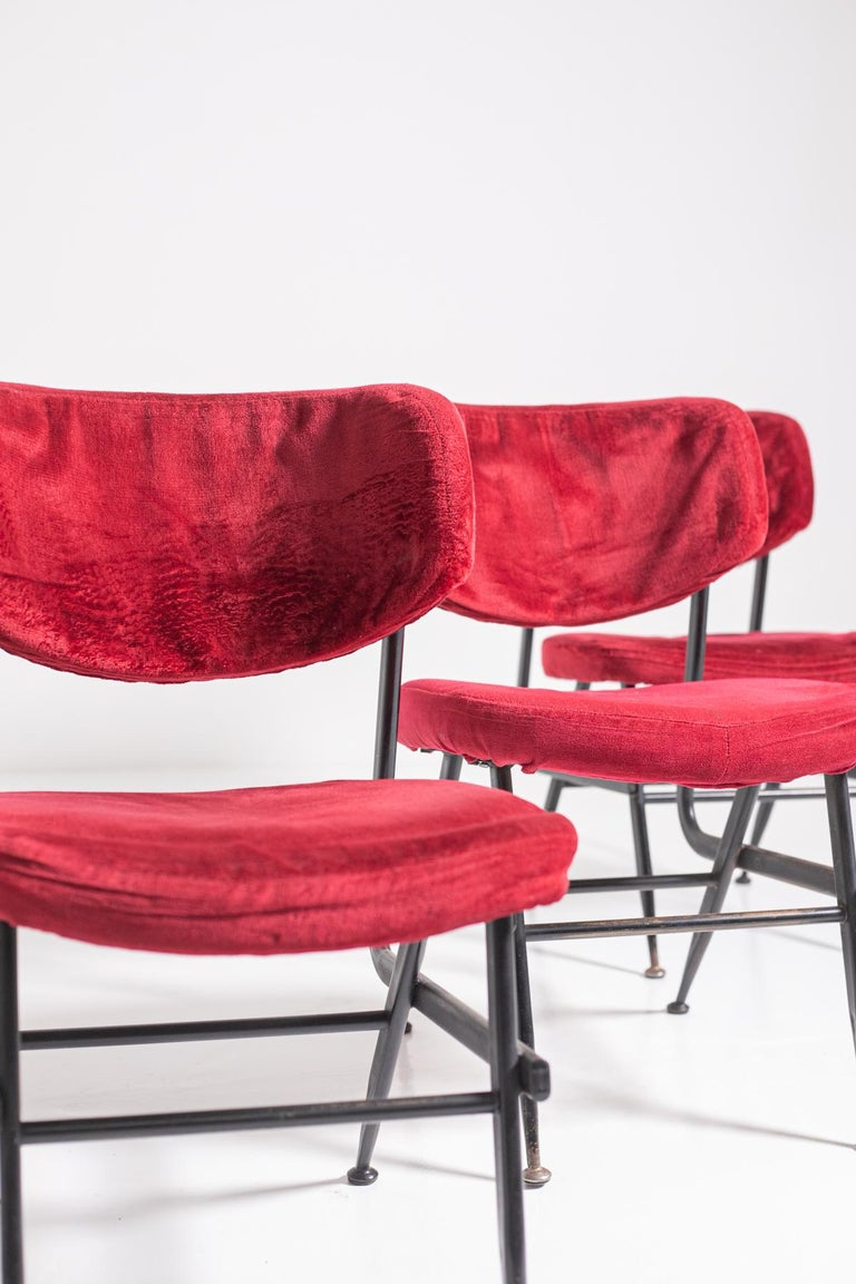 Italian Chairs Set of Six in Red Velvet and Iron, 1950s For Sale 4