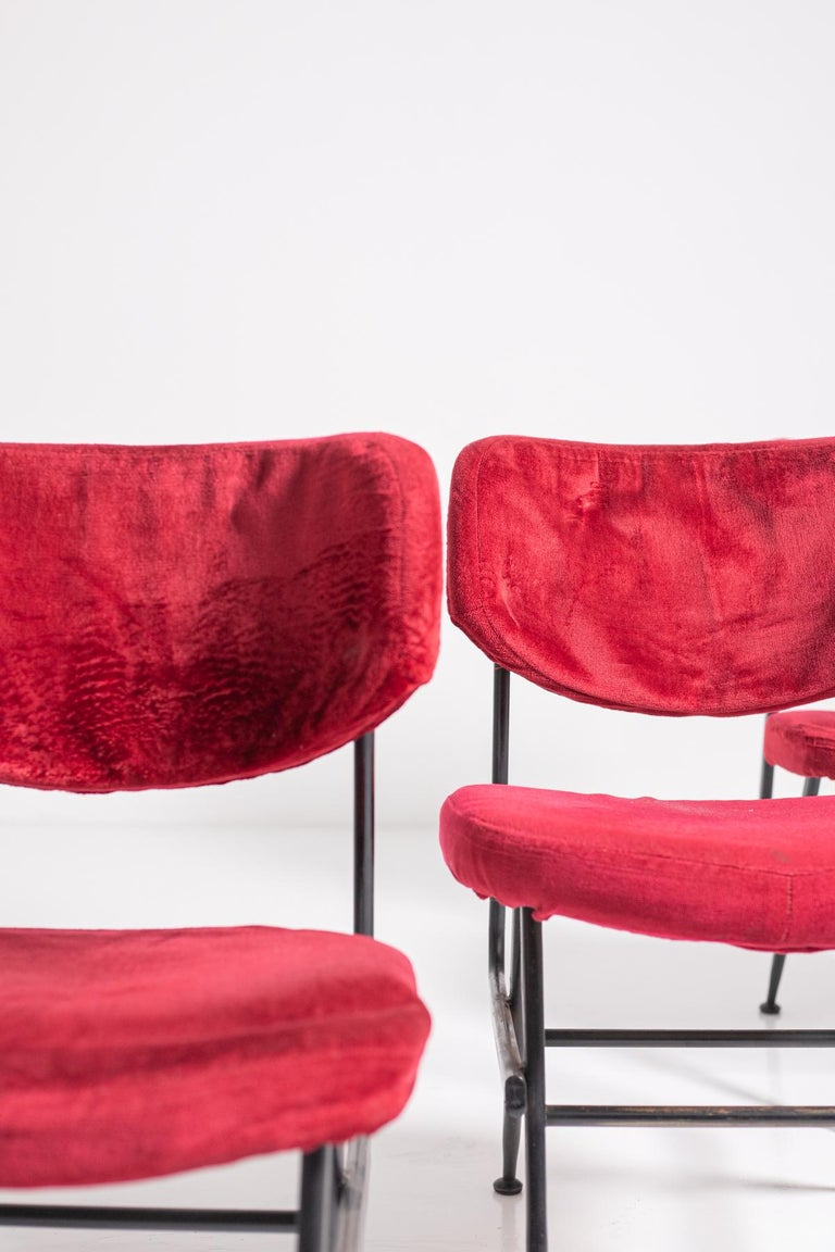Italian Chairs Set of Six in Red Velvet and Iron, 1950s For Sale 5