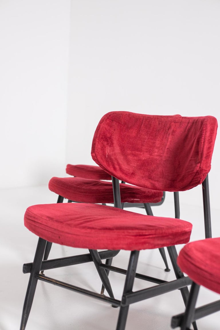 Italian Chairs Set of Six in Red Velvet and Iron, 1950s For Sale 6