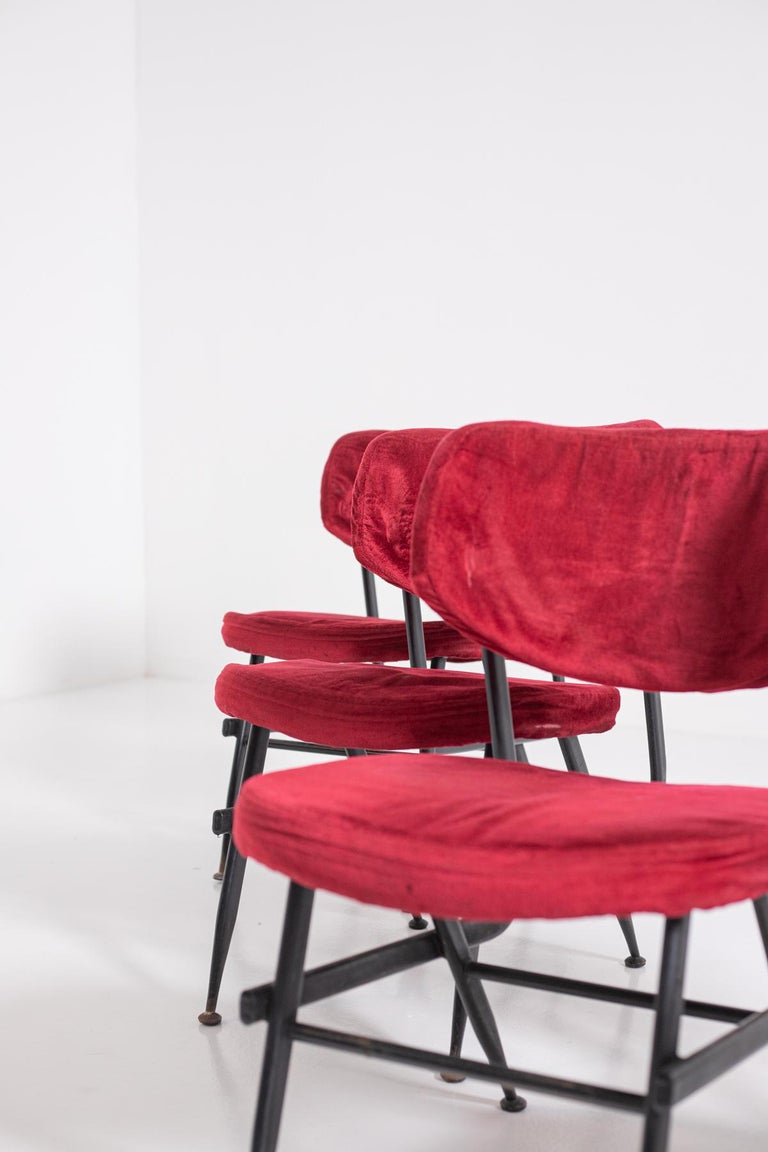 Italian Chairs Set of Six in Red Velvet and Iron, 1950s For Sale 7