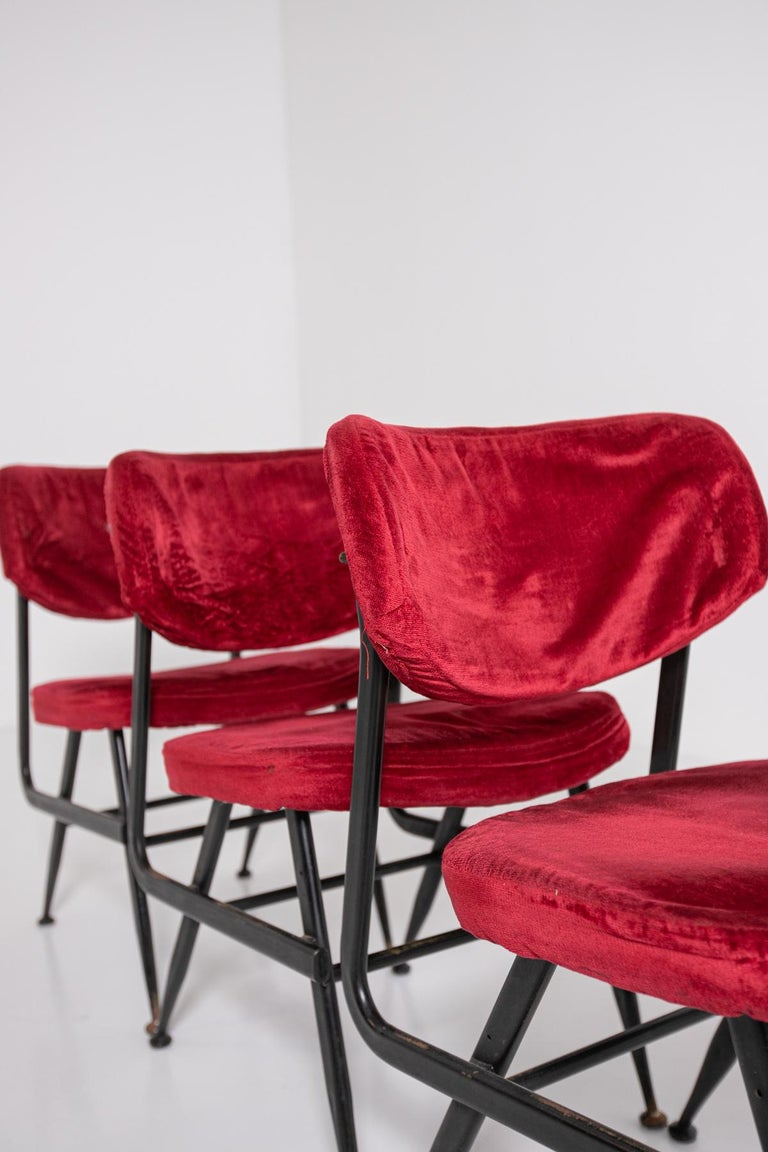 Italian Chairs Set of Six in Red Velvet and Iron, 1950s For Sale 8