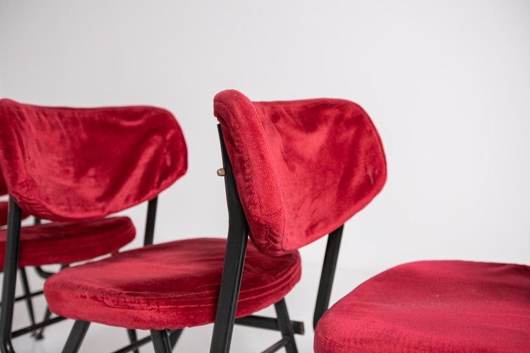 Italian Chairs Set of Six in Red Velvet and Iron, 1950s For Sale 9