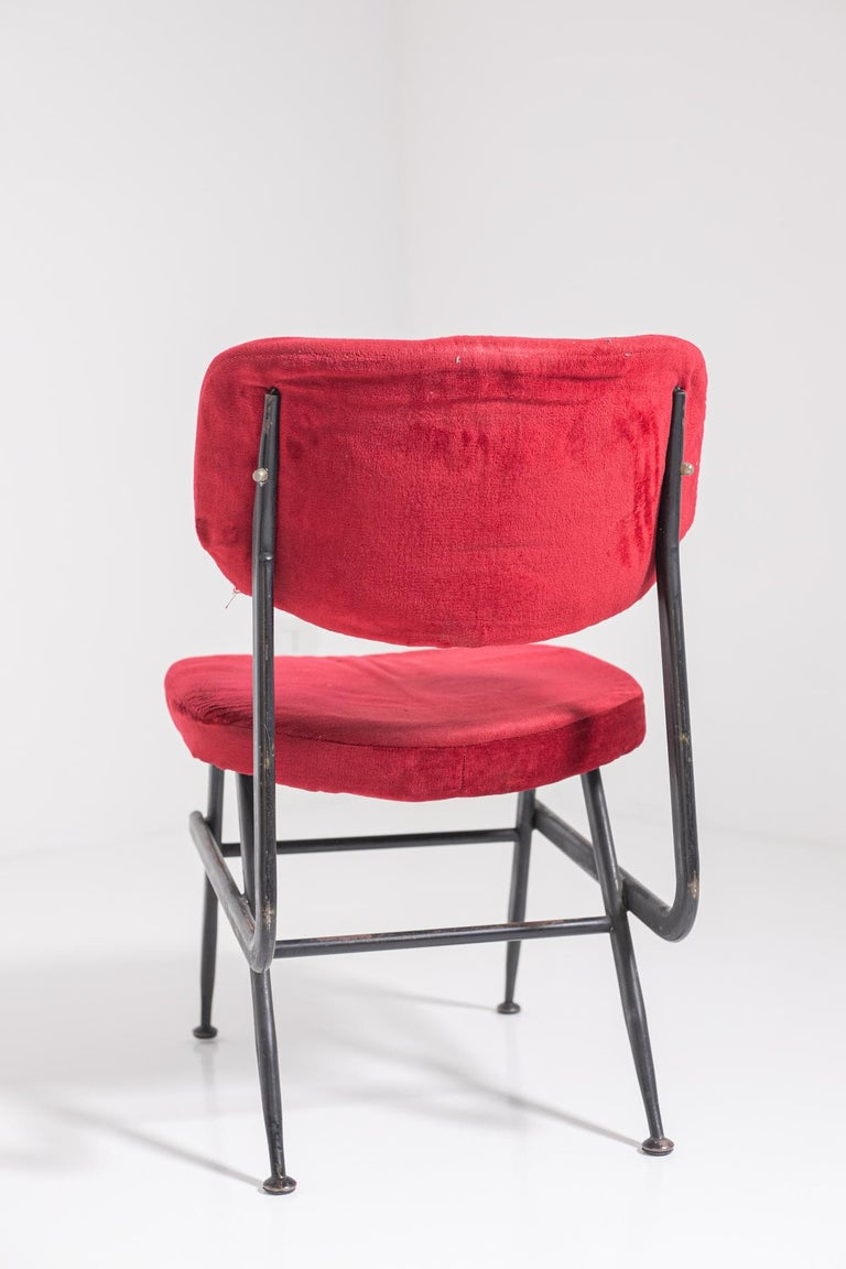 Italian Chairs Set of Six in Red Velvet and Iron, 1950s For Sale 11