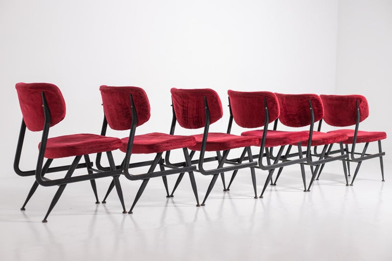 Italian Chairs Set of Six in Red Velvet and Iron, 1950s For Sale 12