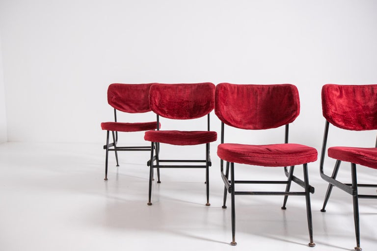 Mid-Century Modern Italian Chairs Set of Six in Red Velvet and Iron, 1950s For Sale
