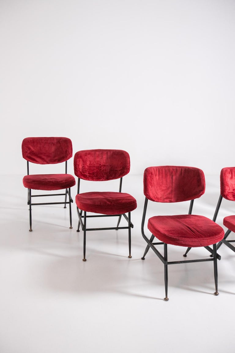 European Italian Chairs Set of Six in Red Velvet and Iron, 1950s For Sale