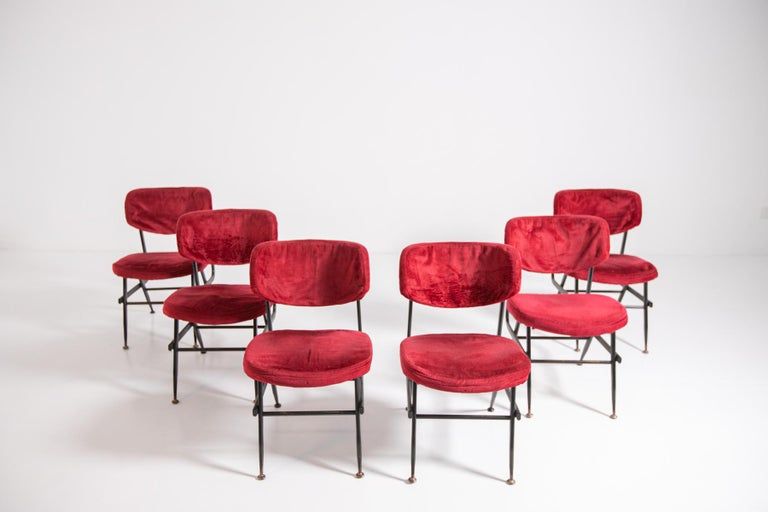 Italian Chairs Set of Six in Red Velvet and Iron, 1950s In Good Condition For Sale In Milano, IT