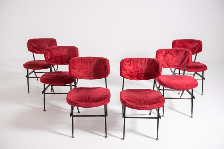 Mid-20th Century Italian Chairs Set of Six in Red Velvet and Iron, 1950s For Sale