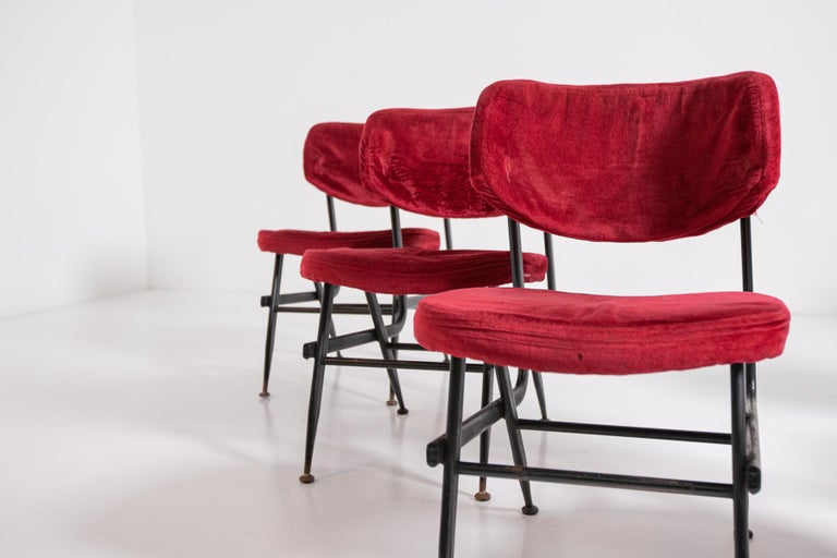 Italian Chairs Set of Six in Red Velvet and Iron, 1950s For Sale 1