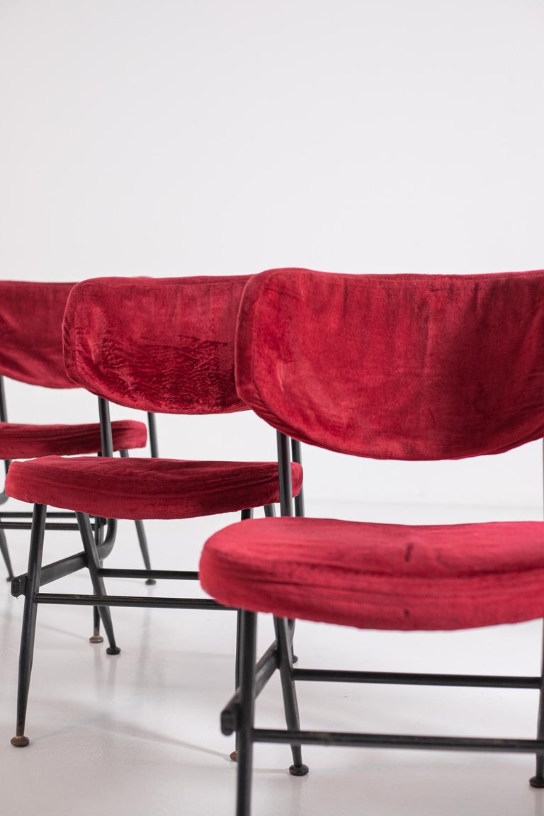 Italian Chairs Set of Six in Red Velvet and Iron, 1950s For Sale 2