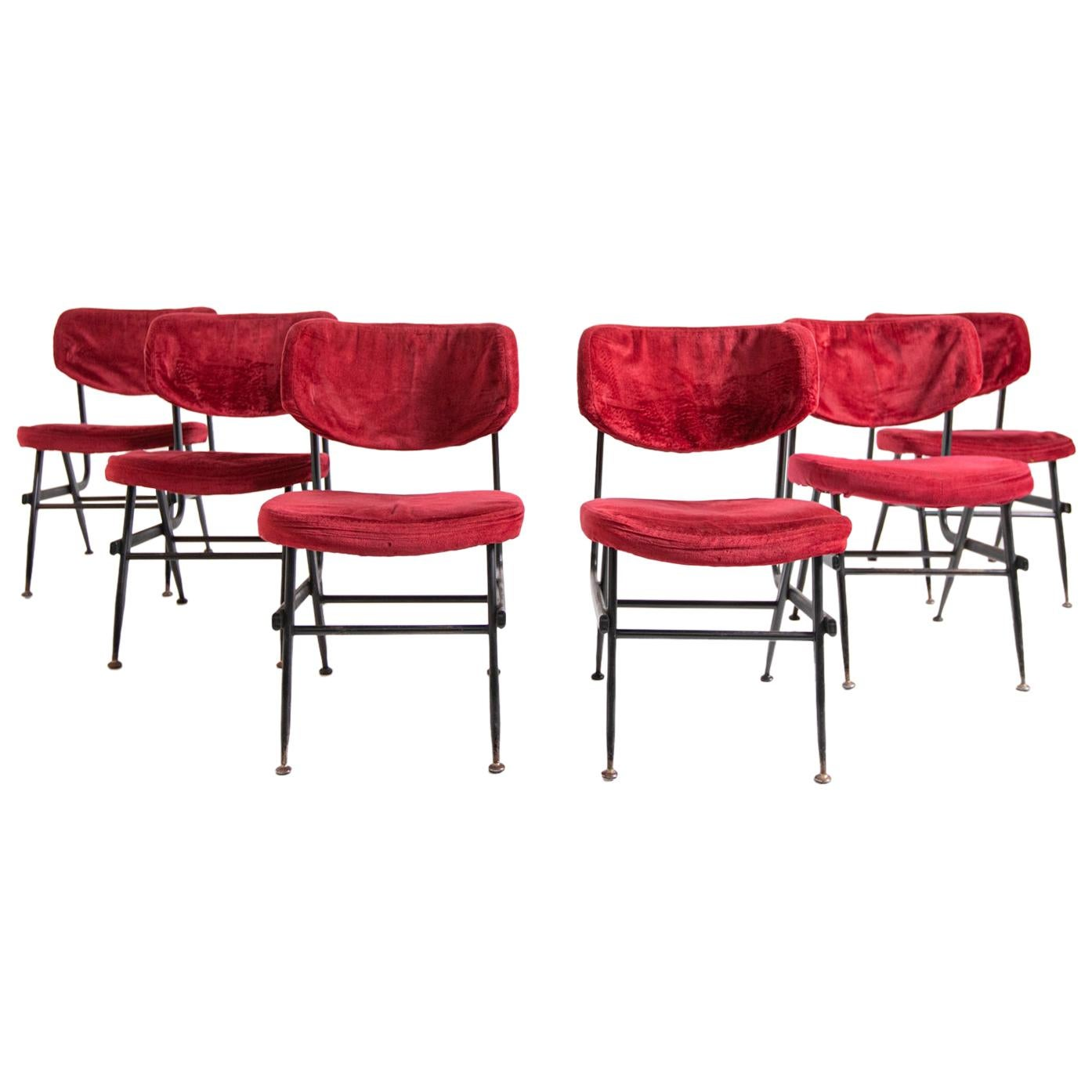 Italian Chairs Set of Six in Red Velvet and Iron, 1950s