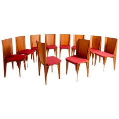 Italian Chairs Set of Ten by Adriano & Paolo Suman Per Giorgetti, 1984