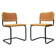 Italian Chairs with Rush-Bottomed Seat from 1970s, in the Style of Cesca Chairs