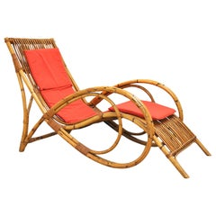Italian Chaise Lounge in Bamboo Midcentury, 1960s