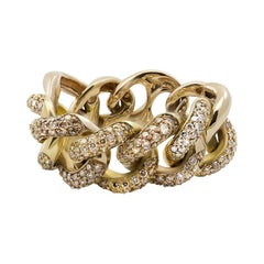 Italian Champagne Diamond 18 Karat Yellow Gold Interlocking Chain Cocktail Ring