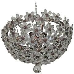 Italian Chandelier 1940s Glass Flowers