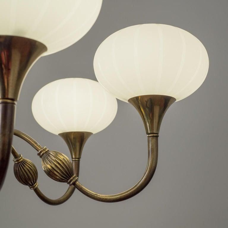 Italian Chandelier, 1940s, Striped Glass and Brass 6
