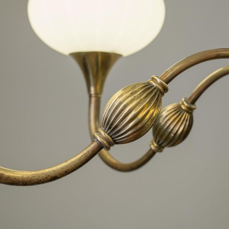 Italian Chandelier, 1940s, Striped Glass and Brass 7