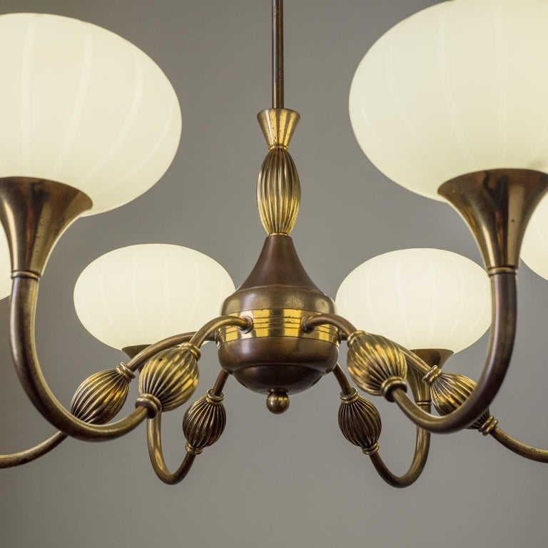 Frosted Italian Chandelier, 1940s, Striped Glass and Brass