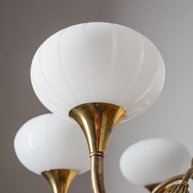 Italian Chandelier, 1940s, Striped Glass and Brass In Good Condition In Vienna, AT
