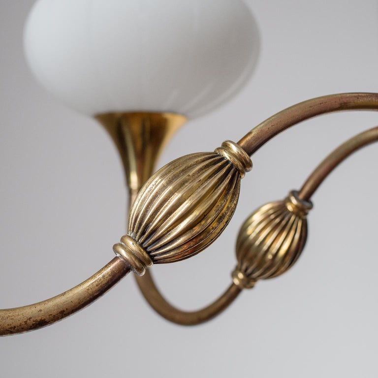 Mid-20th Century Italian Chandelier, 1940s, Striped Glass and Brass