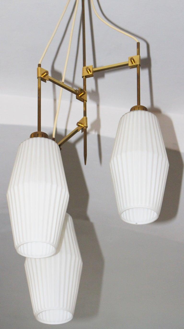 Brass Italian Chandelier Art Deco Style For Sale
