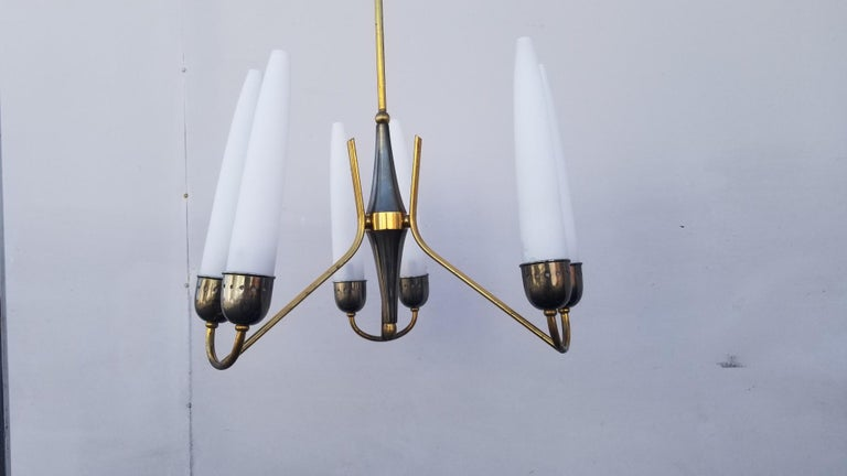 Mid-Century Modern Italian Chandelier Attributed to Angelo Lelii for Arredoluce For Sale